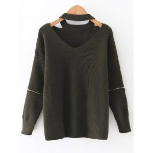 Cut Out Choker Jumper - Army Green - One Size