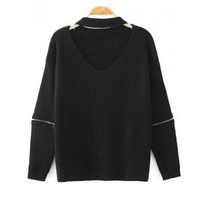 Cut Out V Neck Choker Jumper