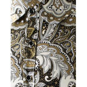 Turn-Down Collar 3D Paisley Printed Shirt - YELLOW 3XL