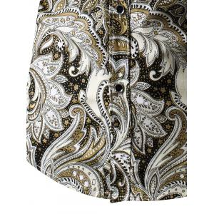 Turn-Down Collar Long Sleeve Paisley Shirt - YELLOW L