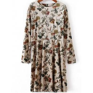 Floral Print Long Sleeve Velvet Skater Dress