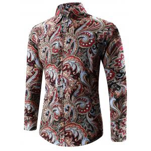Turn-Down Collar Long Sleeve Paisley Shirt - Red - 4xl