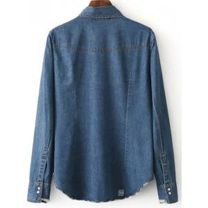 Patched Cowboy Denim Long Sleeve Shirt With Pockets -