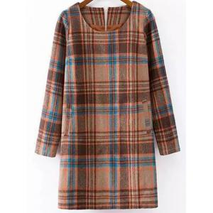 Checked Wool Blend Long Sleeve Shift Dress - Colormix - S