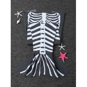 Super Soft Tricoté Blanket Fishbone enfants Wrap Halloween Mermaid - Gris et Blanc