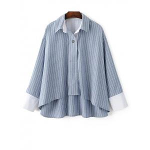 High-Low Striped Loose Blouse