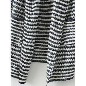 Drape Front Striped Knitted Cardigan -