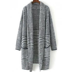 Drape Front Striped Knitted Cardigan - Colormix - L