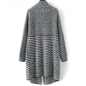 Drape Front Striped Knitted Cardigan - COLORMIX L