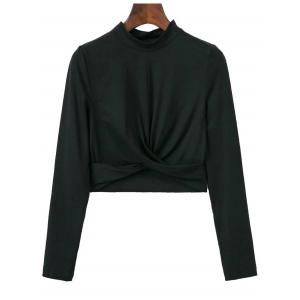 High Collar Cropped Fitted T-Shirt