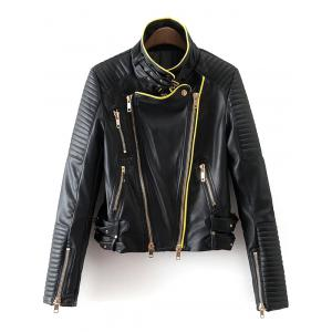Piped PU Leather Biker Jacket - Black - S