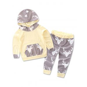 Animal Printed Hoodie + Deer Print Pants Two Piece Set - Off-white - 100