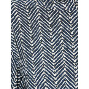 Chevron Pattern Belted Vintage Dress - DEEP BLUE XL