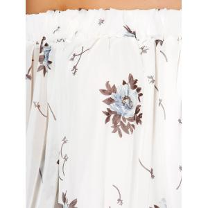 See Through Chiffon Floral Off The Shoulder Blouse - WHITE M