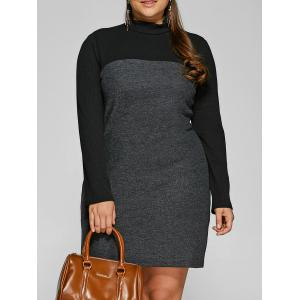 Knit Panel Mini Dress - Black - 2xl