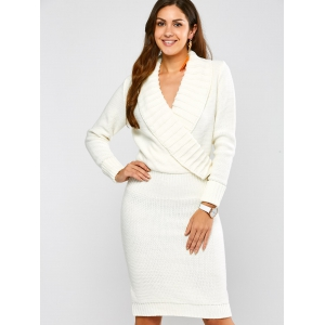 Long Sleeve Shawl Collar Sweater Fitted Dress - WHITE XL