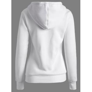 Letters Pattern Kangaroo Pocket Hoodie - WHITE XL