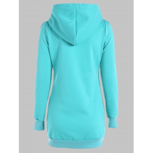 Slimming Pullover Pockets Design Hoodie - LAKE GREEN 3XL