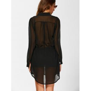 Chiffon See Thru Long Sleeve Surplice Dress - BLACK XL