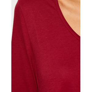 Fit and Flare Long Sleeve Mini Dress - WINE RED XL