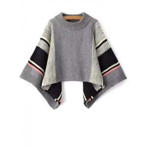 Color Block Dolman Poncho Sweater - GRAY ONE SIZE