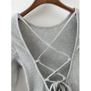 Lace Up Back Fit and Flare Dress - GRAY L