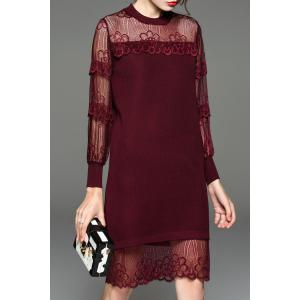 Sheer Lace Paneled Knee Length Knitted Dress