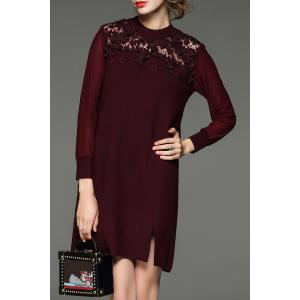 Lace Paneled Mini Knitted Dress