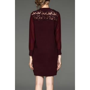 Lace Paneled Mini Knitted Dress - WINE RED ONE SIZE