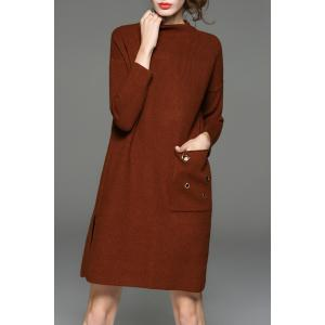 Mock Neck Riveted Side Slit Knit Dress - Coffee - One Size