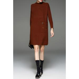 Mock Neck Riveted Side Slit Knit Dress - COFFEE ONE SIZE