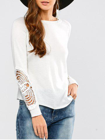 Outfit Long Sleeve Crochet Hollow Out Pullover Knitwear WHITE XL