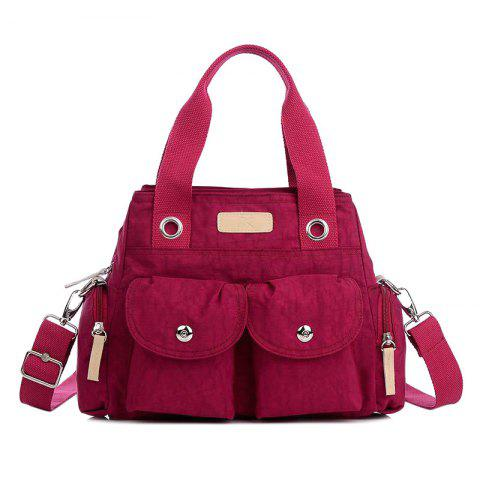 Best Pockets Magnetic Closure Zippers Tote Bag - CERISE  Mobile