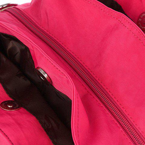 Trendy Pockets Magnetic Closure Zippers Tote Bag - CERISE  Mobile