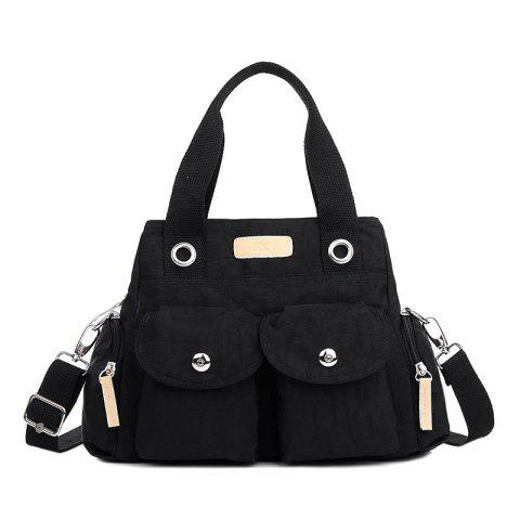 Affordable Pockets Magnetic Closure Zippers Tote Bag - BLACK  Mobile