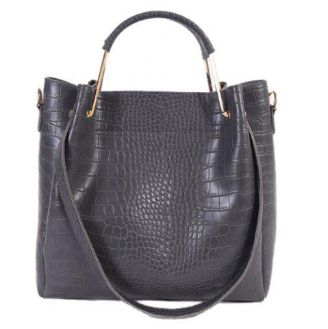 Embossed Dark Colour Metal Tote Bag - Deep Gray - Horizontal