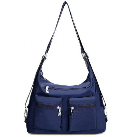 New Nylon Pockets Zippers Shoulder Bag DEEP BLUE