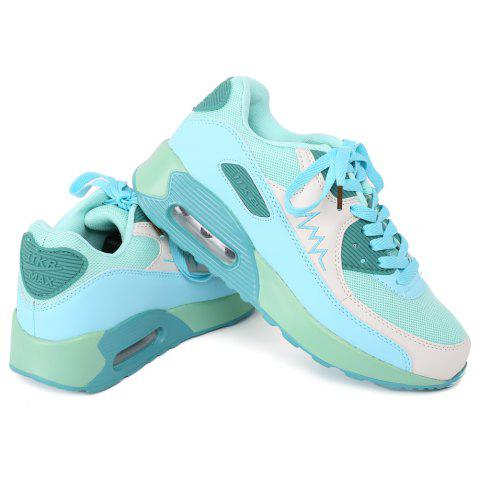 Trendy Fashion Colour Splicing and Breathable Design Athletic Shoes For Women LAKE GREEN 40