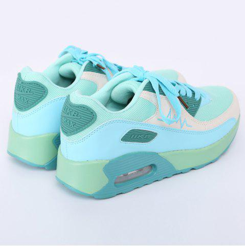 Shop Fashion Colour Splicing and Breathable Design Athletic Shoes For Women - 40 LAKE GREEN Mobile