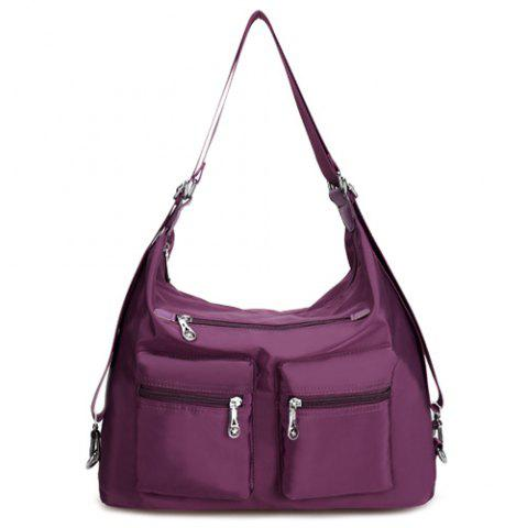 Sale Nylon Pockets Zippers Shoulder Bag DEEP PURPLE