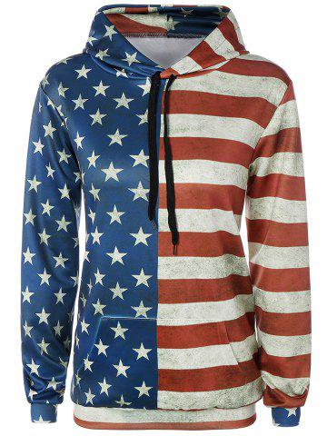 Shops Front Pocket American Flag Print Outerwear Hoodie COLORMIX L