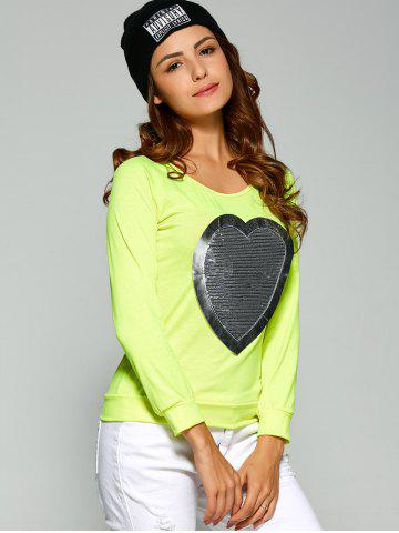Affordable Long Sleeve Heart Sequin T-Shirt - S FLUORESCENT YELLOW Mobile