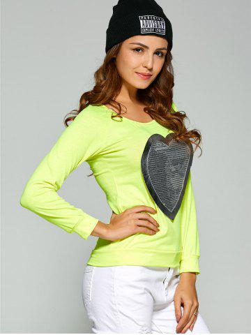 New Long Sleeve Heart Sequin T-Shirt - S FLUORESCENT YELLOW Mobile
