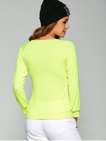 Trendy Long Sleeve Heart Sequin T-Shirt - S FLUORESCENT YELLOW Mobile