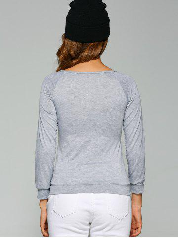 Chic Long Sleeve Heart Sequin T-Shirt - 3XL GRAY Mobile