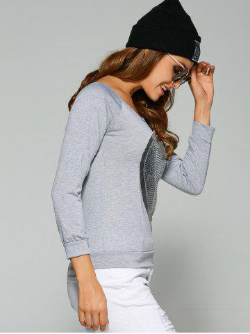 Unique Long Sleeve Heart Sequin T-Shirt - 3XL GRAY Mobile
