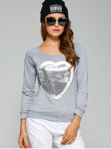 Trendy Long Sleeve Heart Sequin T-Shirt - 3XL GRAY Mobile