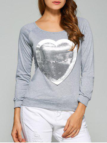 Trendy Long Sleeve Heart Sequin T-Shirt - 2XL GRAY Mobile