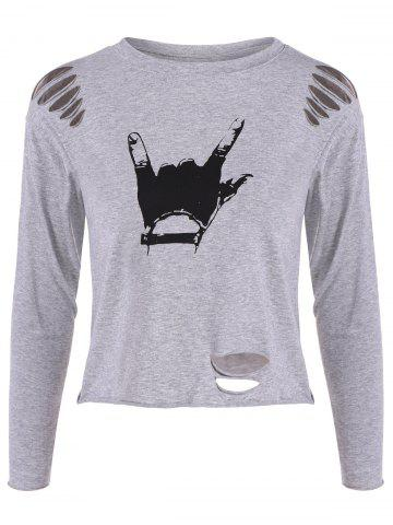 Latest Hand Gesture Ripped Tee GRAY ONE SIZE