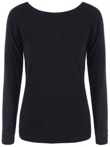 Online Long Sleeve Open Back T-Shirt BLACK XL